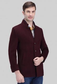 男装围巾领休闲羊毛大衣 -Y1522