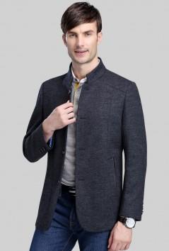 男士中长款商务羊毛大衣-Y1613
