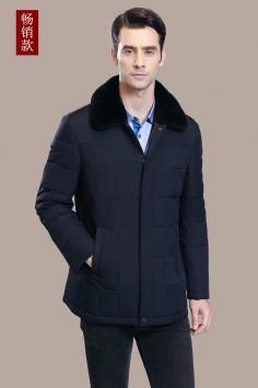 A8706 伟德国际1946工厂直销獭兔翻领保暖修身男士羽绒服