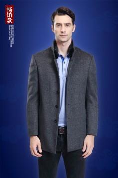 博尔顿工厂直销羊毛羊绒水貂立领兔毛内胆羊绒大衣