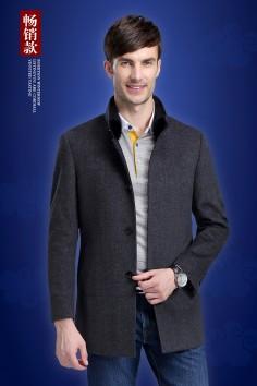 Y5515 伟德国际1946工厂直销中长水貂立领男式水貂毛呢羊毛大衣