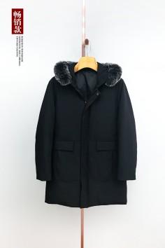 A7717 伟德国际1946工厂直销简欧时尚连帽可拆卸狐狸毛长款羽绒服