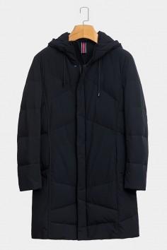 A9131博尔顿2018新款防寒放风加厚版连帽长款羽绒服修身中长款合体款