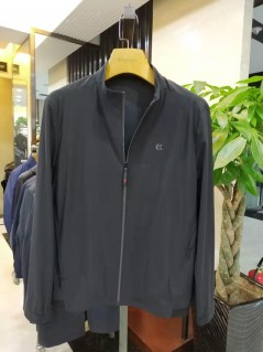 J2061 博尔顿时尚针织休闲男士新款中年立领春装夹克